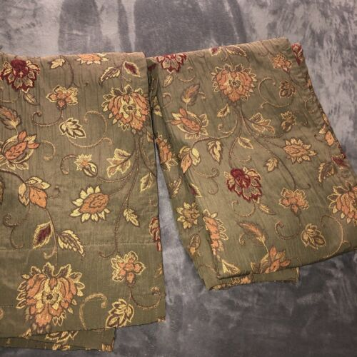 """Vintage Heavy Tapestry Drapery Panels Set of 2 each 53""""x88"""" Green Rust Floral"""