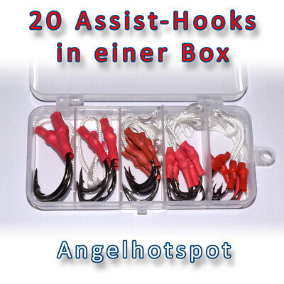 20 Assist-Hooks in der Box   1/0-10/0   Angsthaken Beifänger Haken Angelhotspot