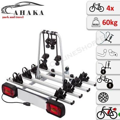 AHIRO4 Portabicicletas Para 4 Bicicletas Plegable Bloqueable Aluminio Ebike