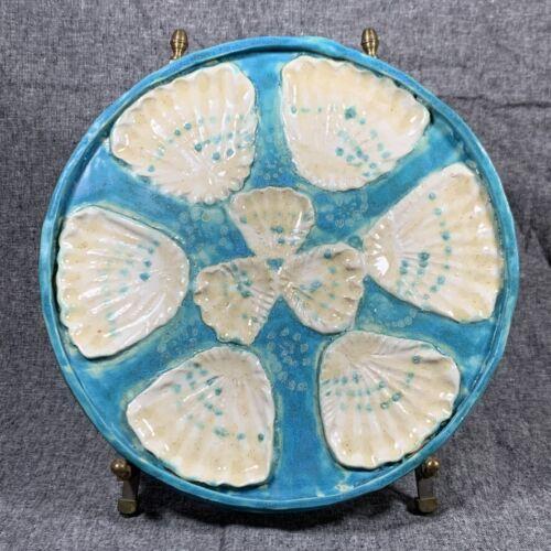 Vintage OYSTER PLATE - Blue & White Glazed Art Pottery