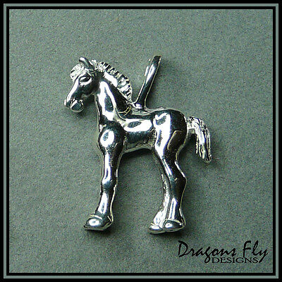 Foal Pendant, Equine Jewelry, Horse Jewelry, Stainless Steel,  Friesian,