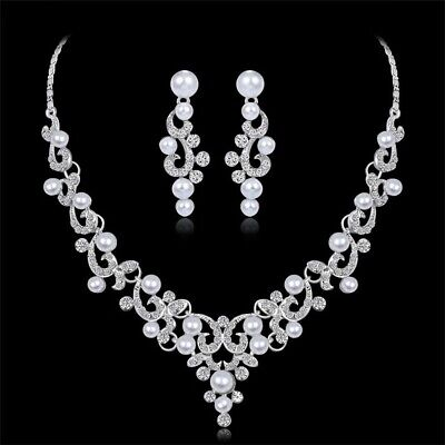Faux Pearl Necklace Earrings (Bridal Wedding Rhinestone Crystal Faux Pearl Necklace Earrings Set Prom Party W7 )