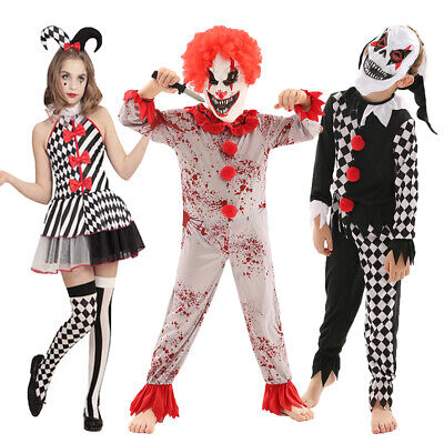 CHILD KILLER CLOWN COSTUME HALLOWEEN FANCY DRESS SCARY HORROR PARTY OUTFIT