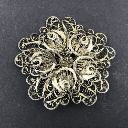 """VTG 2"""" Flower Pin Brooch Sterling Silver Filigree Cannetille Coil Wire Mexico"""