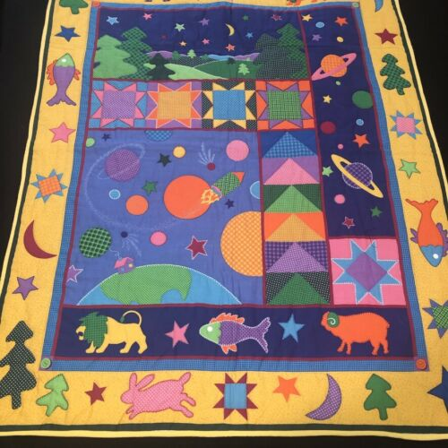 Vtg Handmade Printed Quilt Lap Crib Colorful Planets Animals Hand Stitching VGC