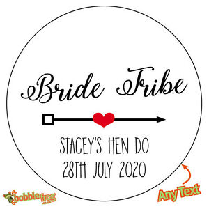 48 x BRIDE TRIBE Personalised Hen Party Do Weekend Stickers Sweet Bag Bottle 487