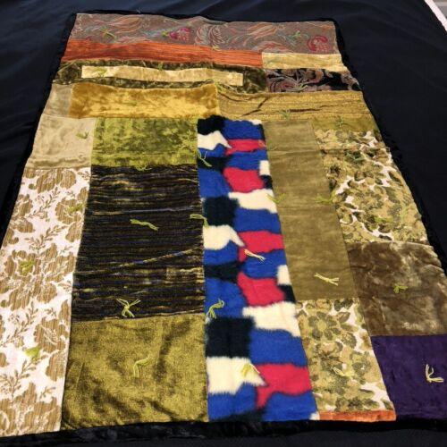 "Vintage 1960s Groovy Patchwork Scrap Quilt Velvets and Tapestries 32""x43"" Lap"