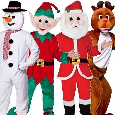 New Adult Christmas Xmas Snowman Santa Reindeer Elf Fancy Dress Mascot Costume - Santa Mascot Costume