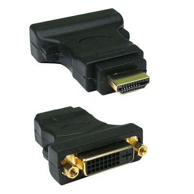 DVI Female Socket to HDMI Male Plug Adapter GOLD  - UK