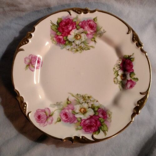 """Prov Saxe ES Germany 8 5/8"""" Plate - White, Pink, and Red Roses"""