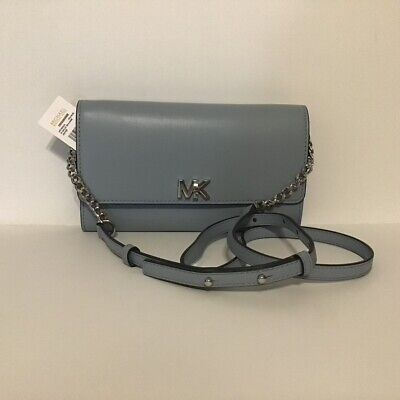 MICHAEL KORS XL Wallet Crossbody on a Chain Leather Pale Blue NWT
