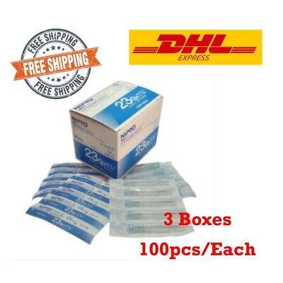 3x Nipro Hypodermic Needle 23g X 1 12 0.6 X 40 Mm. Thin Wall Box 100pcs