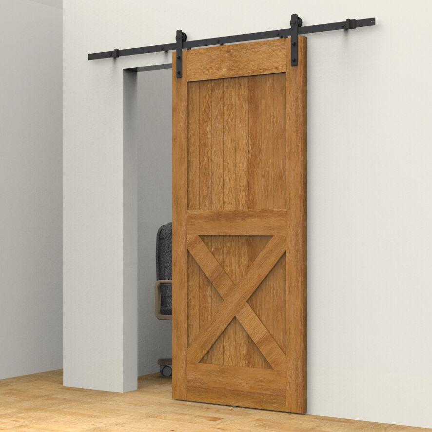 Vintage Industrial Sliding Doors : Ft vintage strap industrial wheel steel sliding barn wood