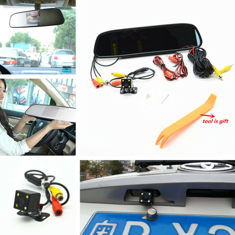 Car Reverse Backup Night Vision HDLED Camera+LCD Rearview Mirror Display Monitor