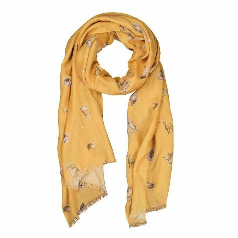 Wrendale Designs Mustard Woodlanders Design Scarf - Great Gift Idea for Women