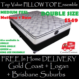 DOUBLE Size PILLOW TOP Bed Ensemble - Mattress Base DELIVERED