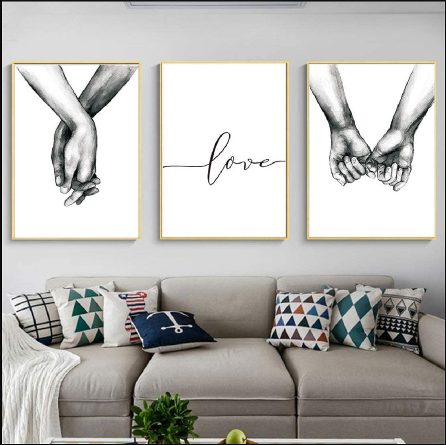 Love and Hand in Hand Wall Art Canvas Print Poster Black and