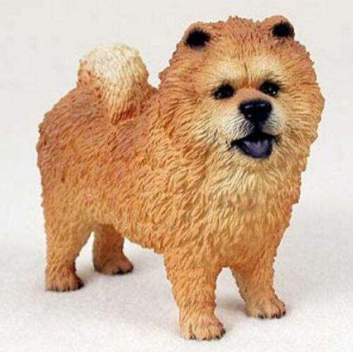 CHOW RED DOG Figurine Statue Hand Painted Resin Gift Pet Lovers Tan