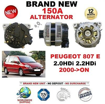 New OE spec Peugeot 607 2.0 HDi 2.2 HDi 00 /& 807 2.0 HDi Alternator With Pulley