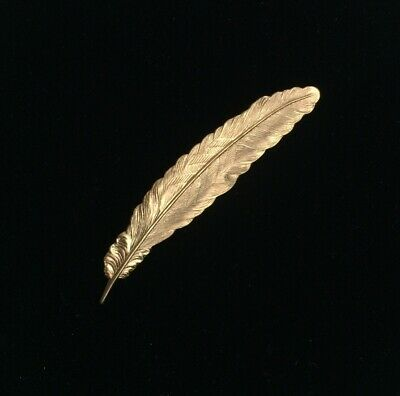 """Vintage Women's Quill Feather Pin Brooch Gold Tone Fashion Jewelry Unmarked 3"""""""