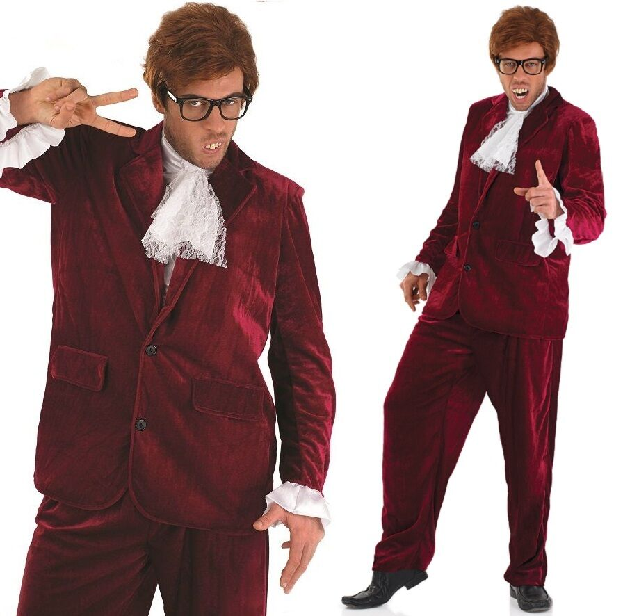 bcad55c497c0 Details about Mens Red 1960s Austin Powers Spy Gigolo 60s Suit Fancy Dress  Costume Outfit