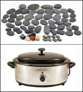 HOT STONE MASSAGE KIT: 65 Natural Basalt/Chakra Stones + 6.5 Quart Heater