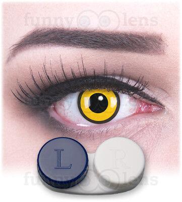 aktlinsen mit Stärke Black Yellow Behälter für Halloween (Gelbe Kontaktlinsen Halloween)