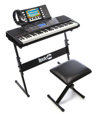 Electric Piano Keyboard Stand Music Stool Headphones LCD Screen Record Playback