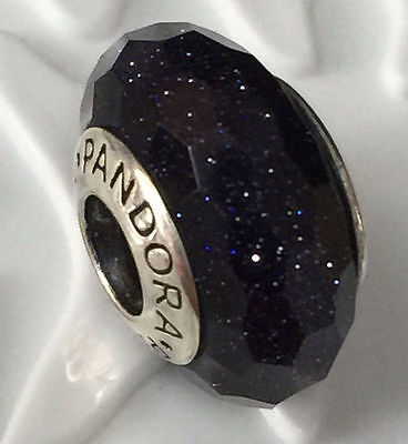 NEW Authentic Pandora silver 925 Ale murano bead charm black shimmer glass