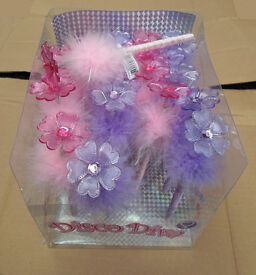 Joblot 240 X Disco Diva flufy Pens with flower wholesale clearance stock