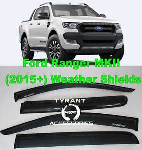 Ford Ranger PX 2016+ Smoke Black Weather Shields Rain Visors MK2 Kings Park Blacktown Area Preview