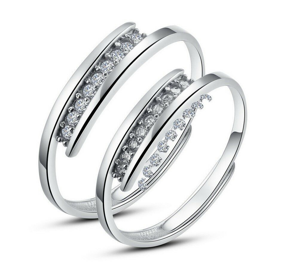 925 Sterling Silver Couple White Gold Plated CZ Adjustable Open Promise Ring Fashion Jewelry
