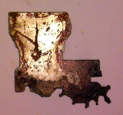 6 Inch Louisiana La State Shape Rough Rusty Metal Vintage Stencil Ornament Craft
