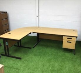 Oak desk with return cheap