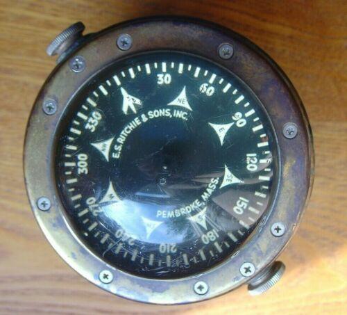 Vintage ES Ritchie & Sons Pembroke Mass Boat Ship Compass Ohio River Barge ?