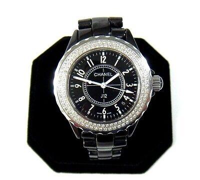 "Chanel Paris J12 Diamond Bezel Black Ceramic Bracelet Watch 42mm Case 7"" Wrist"