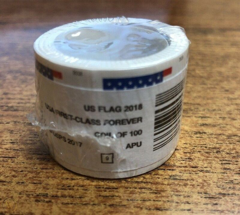 100 USPS Forever Stamps 2018 US Flag Roll Postage Coil 100. FREE SHIPPING!!!