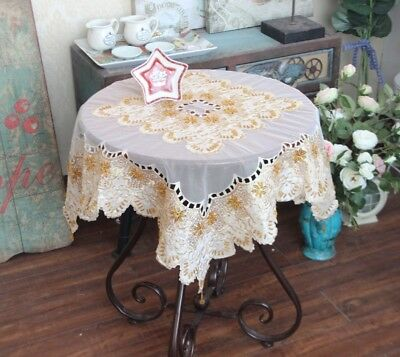 Gorgeous Hand Bead Sequin Embroidery Cutwork Ivory Sheer Patch Table - Ivory Sequin Tablecloth