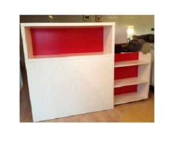 IKEA FLAXA SINGLE BED HEADBOARD WHITE & RED SHELF Riverwood Canterbury Area Preview