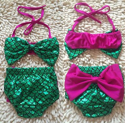 USA Toddler Baby Girl Mermaid Bowknot Bikini Swimwear Swimsuit Swimming Costume (Mermaid Baby Costume)