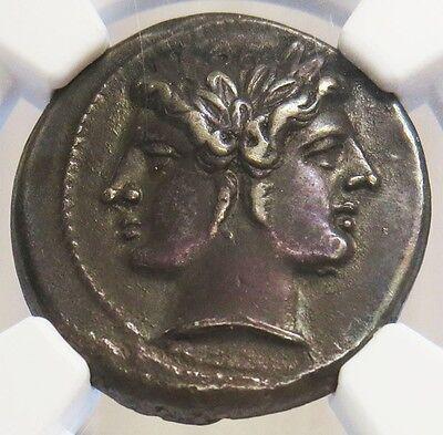 225 -214/2 BC ROMAN REPUBLIC ANONYMOUS AR DIDRACH JANIFORM HEAD DIOSCURI NGC XF