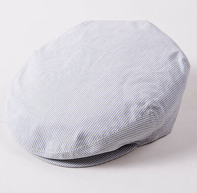 NWT $495 BRIONI Sky Blue-White Stripe Cotton Driving Cap Hat L (58cm) Blue Sky Cotton Cap