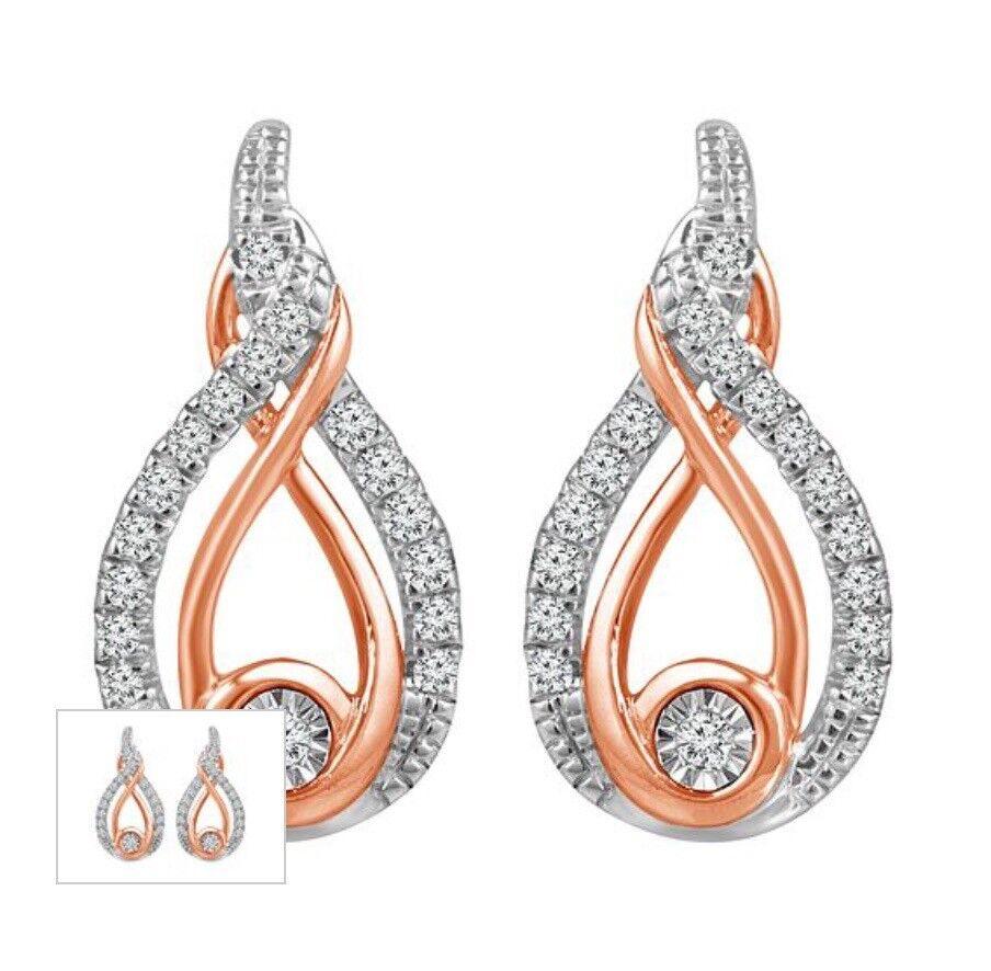 627b0315d4047 Brand New UNUSED ROSE GOLD & SILVER 0.12ct Diamond Earrings   in West  Derby, Merseyside   Gumtree