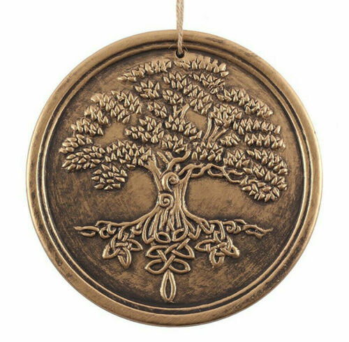 """NEW Bronze Terracotta Tree of Life Altar Tile 7.8"""" Wall Hanging Plaque"""