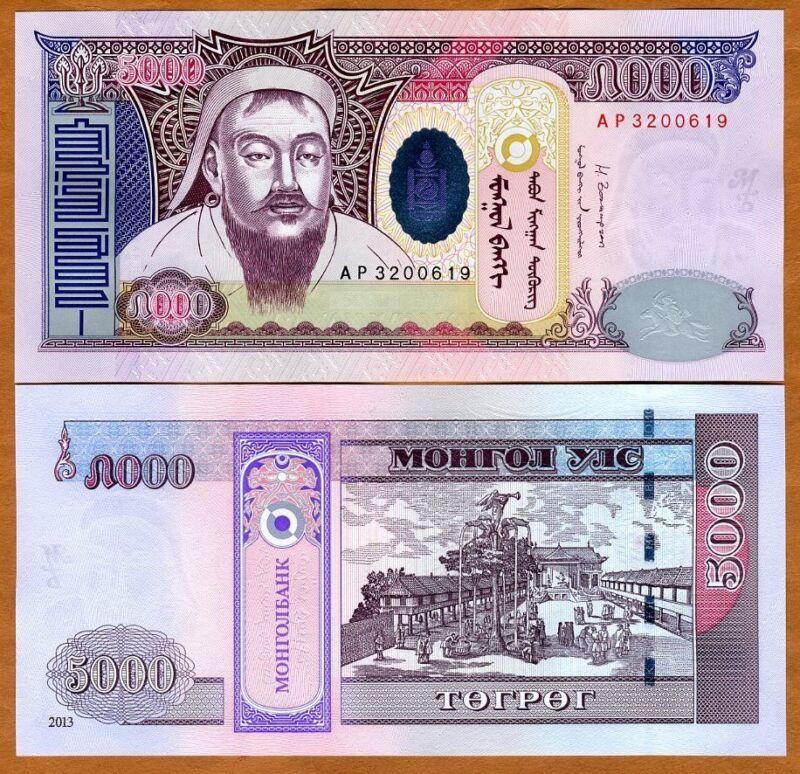 Mongolia, 5000 Tugrik, 2013, P-68b, UNC > Genghis Khan
