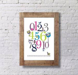 Baby Shower Gift - Kid/Childrens Counting Poster 0-10, Number Pos Allambie Heights Manly Area Preview
