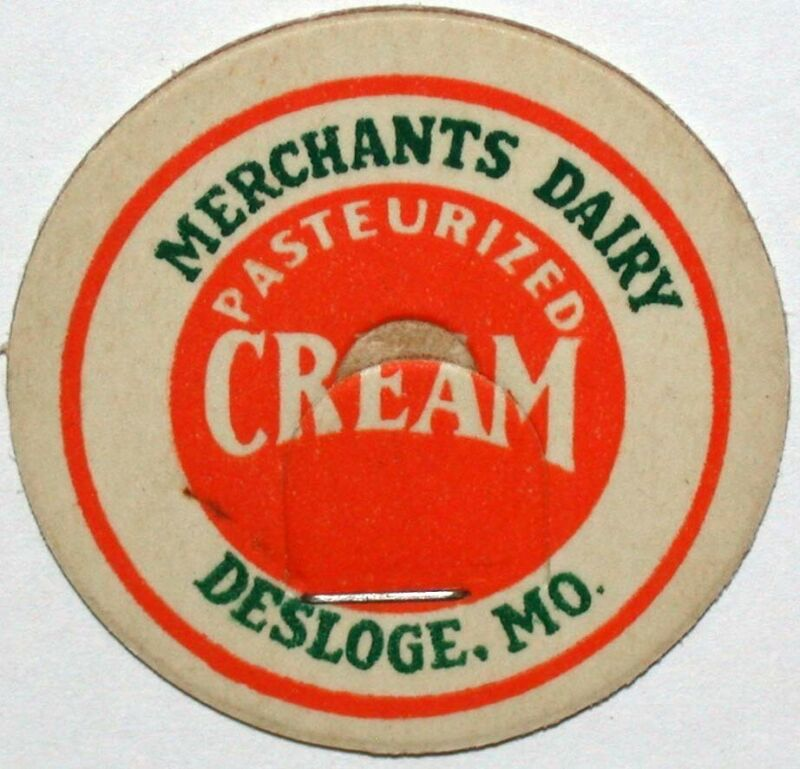 Vintage milk bottle cap MERCHANTS DAIRY Cream Desloge Missouri new old stock