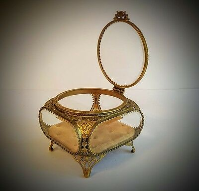 Fine Vintage Gold Ormolu Filigree Beveled Glass Jewelry Casket or Box Nice Size!