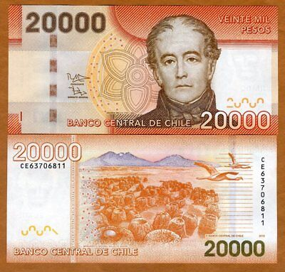 Chile  20000  20 000  Pesos  2016  P 165 New  Unc