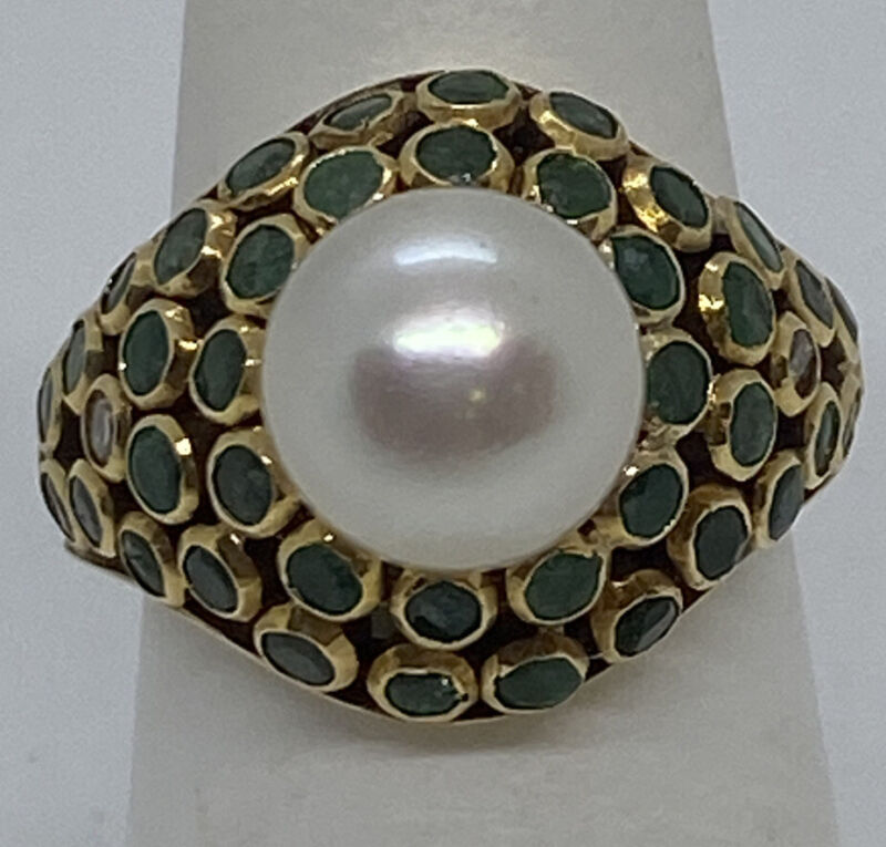 Vintage 18k Yellow Gold Emerald & Pearl Cocktail Ring